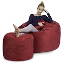 4' CuddleBag Round with Matching Head Pillow and Ottoman