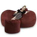 6' CuddleBag Lounger with Matching Head Pillow and Ottoman
