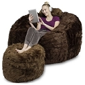 5' CuddleBag Round with Matching Head Pillow and Ottoman